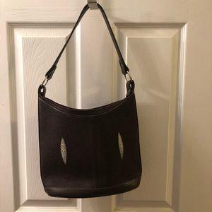Dark brown sting ray purse